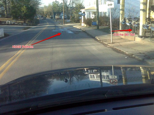Two Crozet Photos - Speed Reminder & a Pothole