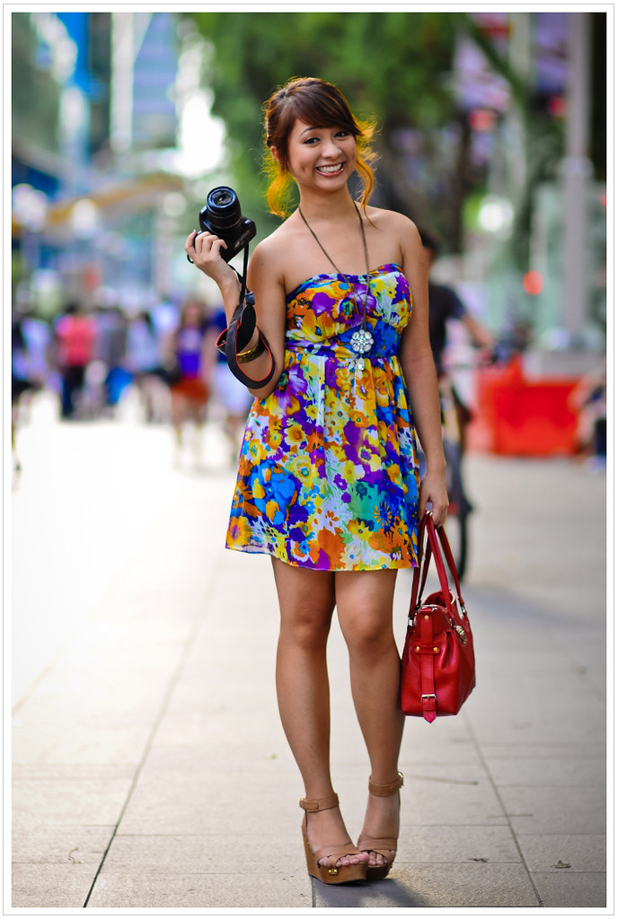 Street Portrait beautiful girl asian fashion dress photograph