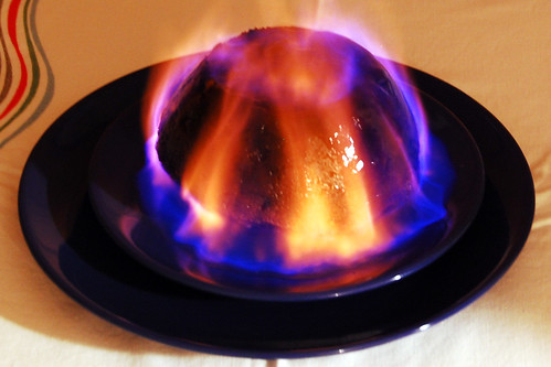 The pudding aflame.