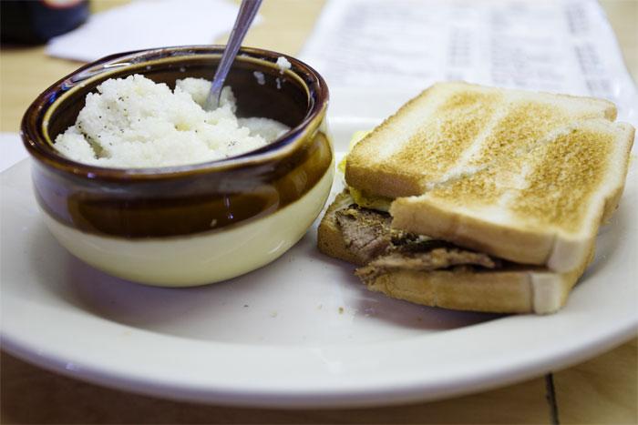 Grits & steak/eggs sandwich