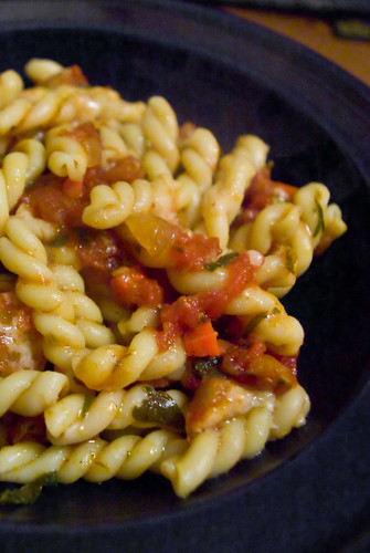 gemelli with wine-braised sausage