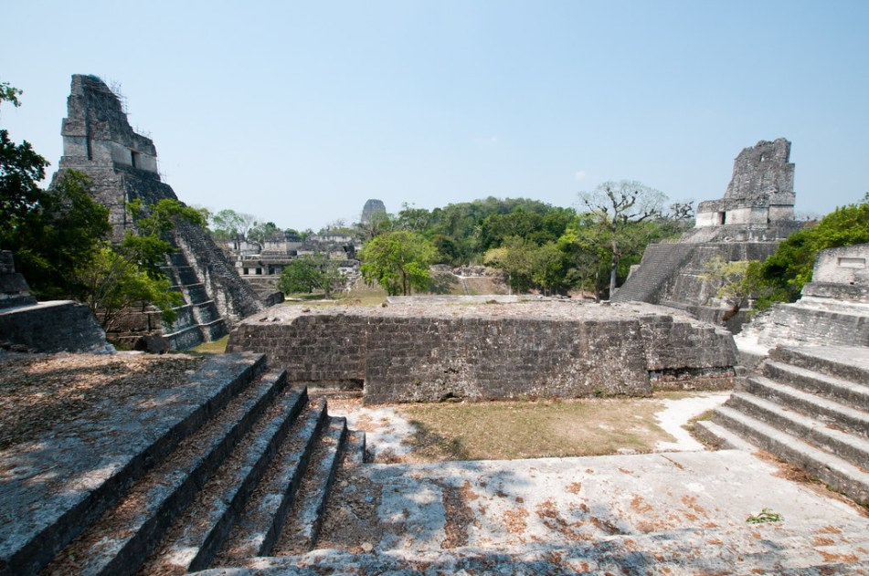Temples I and II in Tikal, Guatemala