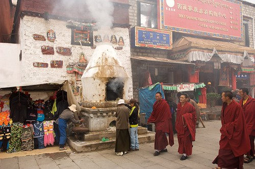 Walking koras around the Barkor in Lhasa, Tibet