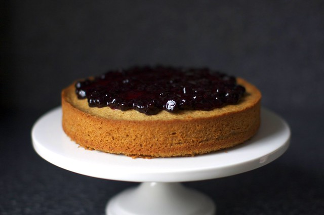 jam on walnut cake