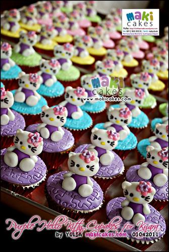 Purple Hello Kitty Cupcakes for Kyara - Maki Cakes