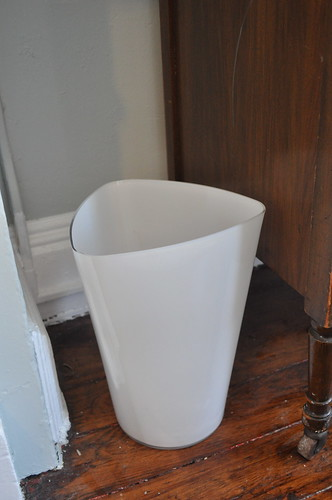 vase turned trash can
