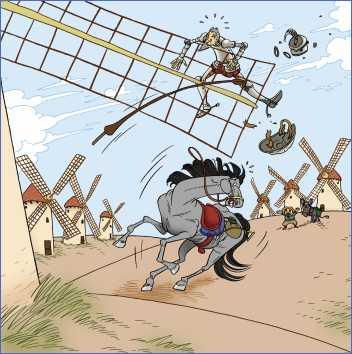 Imagen de don Quijote y los molinos de viento