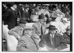 [Boxer Jim Corbett (center) and Blossom Seeley (wife of Rube Marquard) to Corbett's left at Game One of the 1913 World Series at the Polo Grounds New York (baseball)] (LOC)