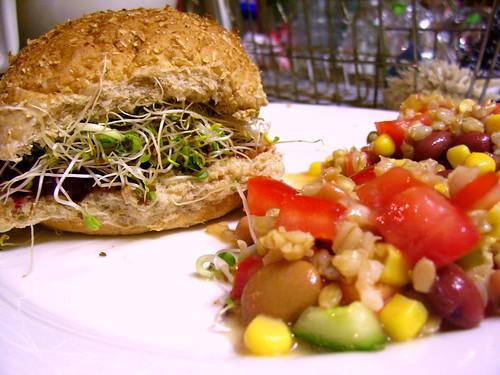 'shroom burger + barley salad