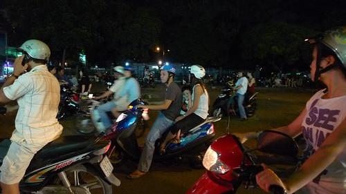 family scooter ride saigon sunday night