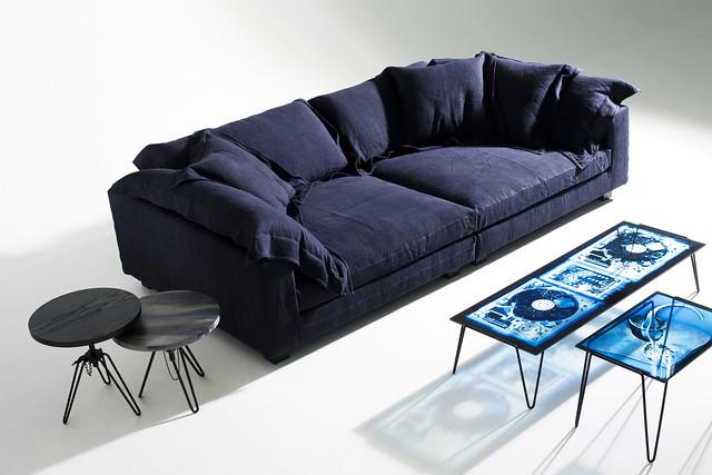 Nebula Nine Sofa, X Radio Tables, Overdyed Side Tables