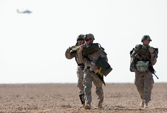 Three paratroopers on Asad Airbase, Iraq
