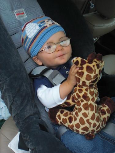 Car with giraffe