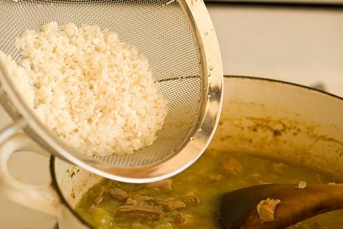 adding rice