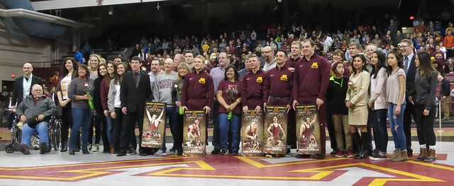 Gopher senior wrestlers and their families were recognized at intermission.