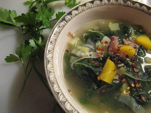 Turkey soup with kale, butternut squash, and leeks