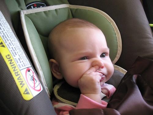 Baby picking nose