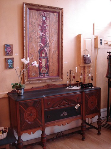 Steampunk sideboard with painting