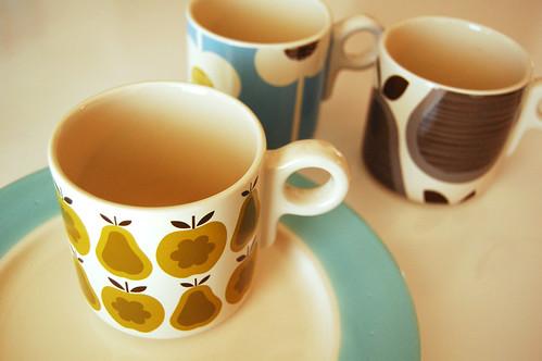 Dishes + Orla Kiely mugs.