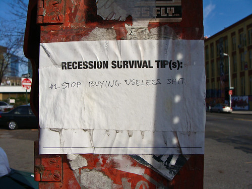 """Recession Survival Tip"" left on a fire alarm in LIC"