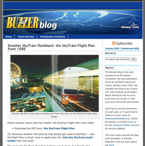 Vancouver's Buzzer Blog is an example of a transit agency doing great work in online outreach.