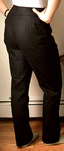 plain black pants (with embroidered pocket lining)