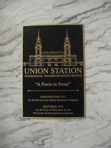 Union Station Worcester MA Restoration Plaque