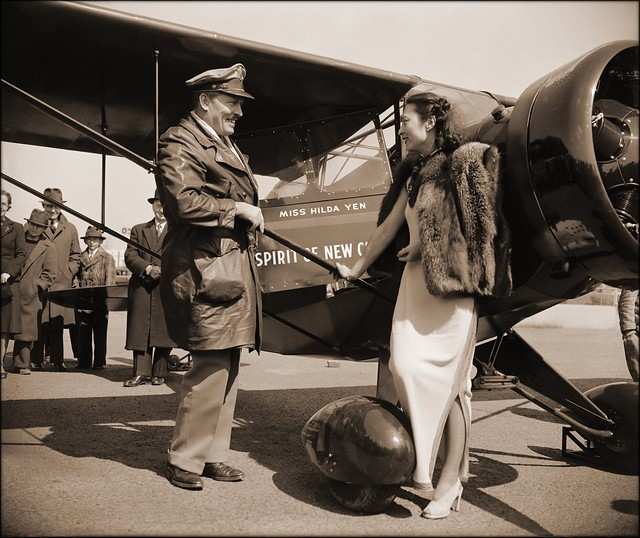 Chinese Aviatrix Receives Gift Of New Plane From Colonel Roscoe Turner, Washington, D.C. [1939] Harris & Ewing [RESTORED]