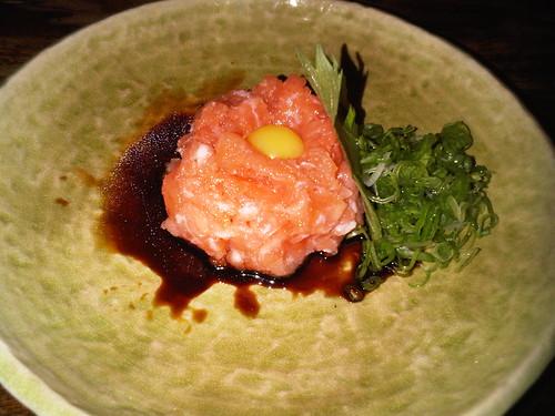 Salmon tartare with quail egg