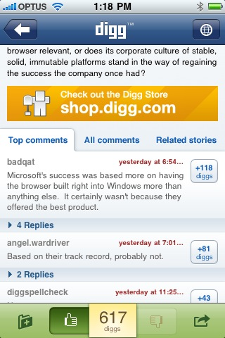 New digg app for iPhone