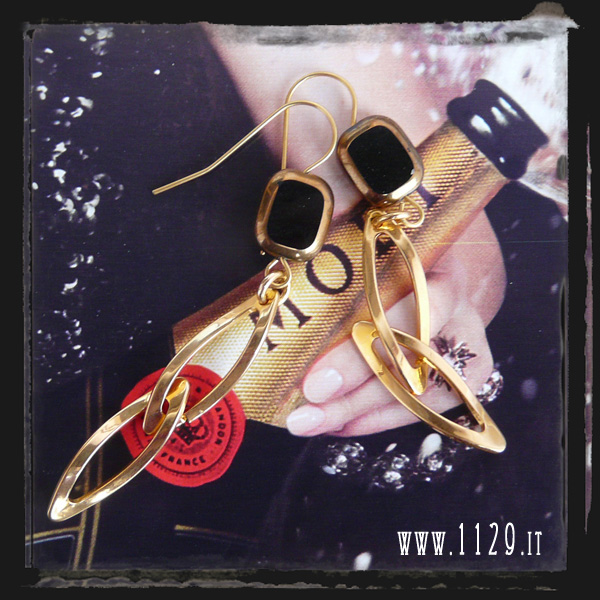 orecchini neri - black gold earrings INNEORO