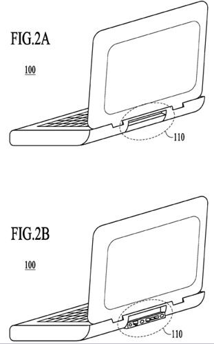 Macbook Netbook Apple patent usb lan rj-45 ports at the back