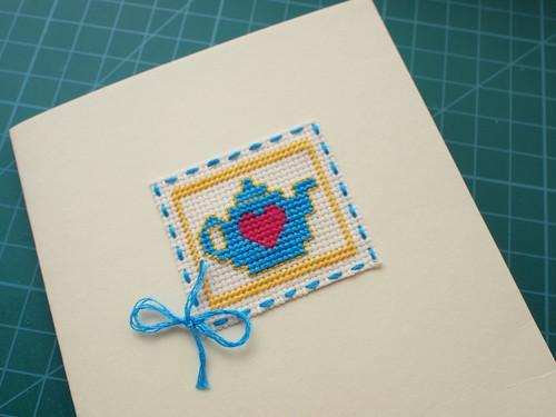 Teapot Cross Stitch Card