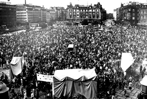 Cyclist Demonstration on City Hall Square 1970s - Copenhagen