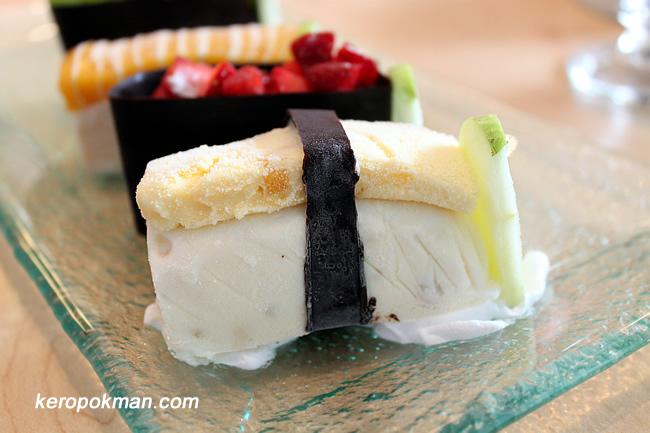 Mango & Passion Fruit Sushi - Macademia Nut Ice Cream, Mango & Passion Fruit Ice Cream, Chocolate