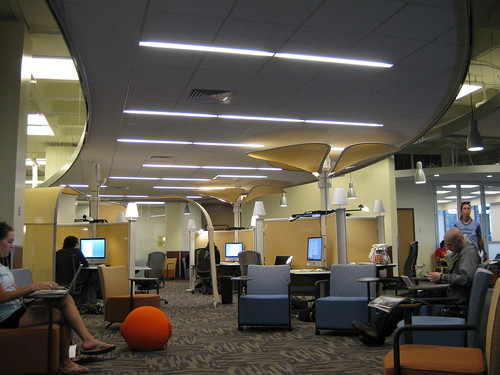 An informal learning space mash-up! The architectural details keep things from feeling cluttered and claustrophobic.