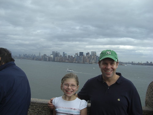 Shawn Collins and Caity at the Statue of Liberty base