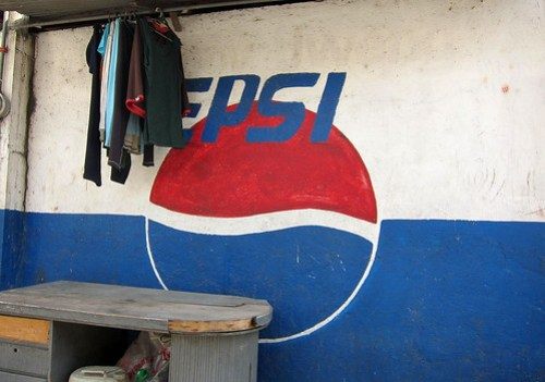pepsi painted on a wall