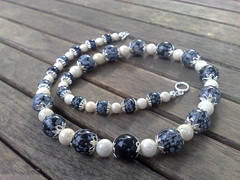 Snowflake obsidian and riverstone necklace