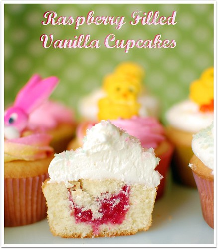 Raspberry Filled Vanilla Cupcakes