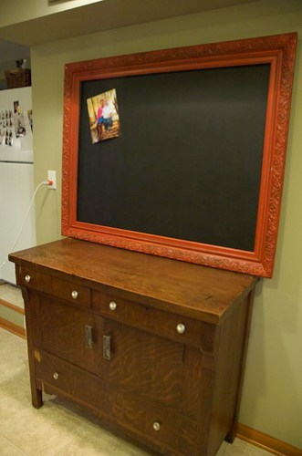 Repurposed old frame to make a chalk board for the kitchen