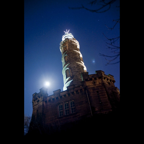 Nelson Monument with the Moon and Stars