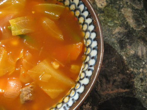 Artsy photo of beef vegetable soup