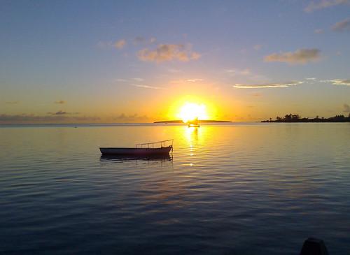 Sunrise over Ile aux Aigrettes, Mahebourg, Mau...