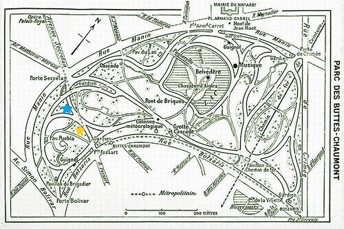 map of parc buttes chaumont