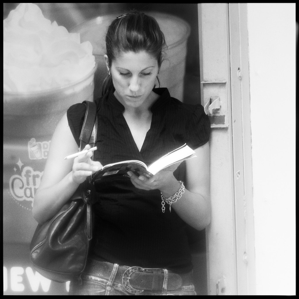 Smoking Woman with Lonely Planet Guide
