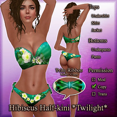 Hibiscus Half-kini (Twilight) Emerald