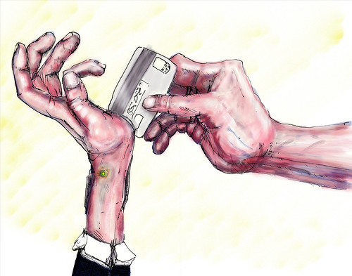 Technological entanglement hand swipe