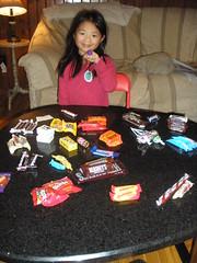 Olivia Sorting Halloween Candy