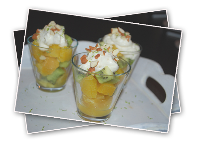 Fruitsalad with almond cream